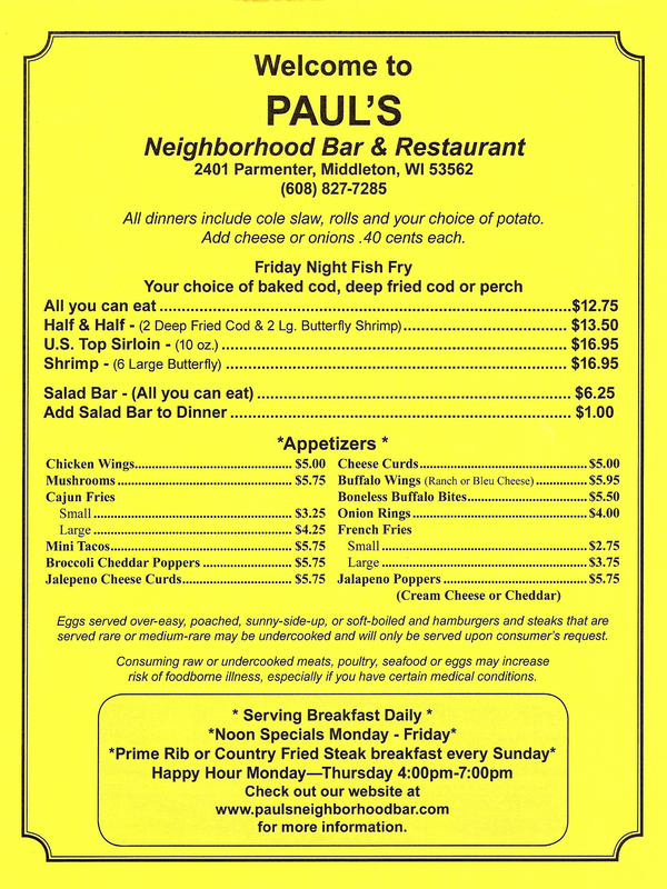 Fish fry menu paul 39 s neighborhood bar for J j fish menu